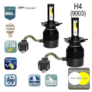 H4 Hb2 9003 3 color Changing Switchable Headlight Hi lo Led Bulbs White yellow