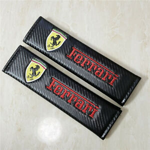 Car Carbon Fiber 3d Embroidery Ferrari Logo Seat Belt Safety Shoulder Pad Cover