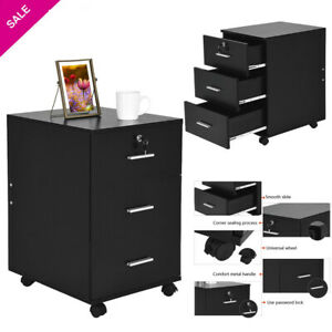 Rolling Filing Cabinet Steel W drawer lock Mobile Storage Organizer Home Office