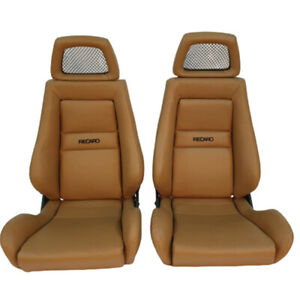 2 Jdm Recaro Lx Tan Specialist Leather Reclinable Net Headrest Racing Seats Car
