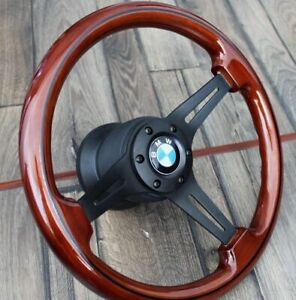 Steering Wheel Bmw Wood Black Spokes E21 E24 E28 Wooden Vintage 533i 1973 1984