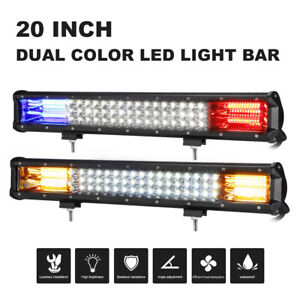 Tri row 20inch 288w Led Work Light Bar Combo Dual Color Fit Boat Atv 4wd Tractor
