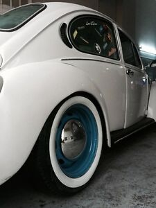 Hot Rod 15 Rim Rubber Tire Trims Port a wall White Wall 22mm Vw Bug Beetle
