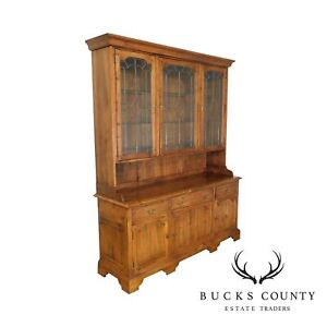 Ethan Allen Old World Treasures Large Step Back Hutch China Cabinet