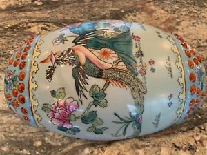 Charming Chinese Porcelain Wall Vase In Famille Rose With Phoenix Birds
