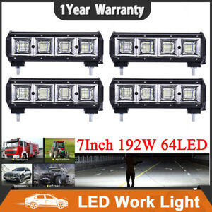 4x 7 Inch 192w 64led Work Light Bar Flood Combo Pods Driving Offroad 4wd Atv
