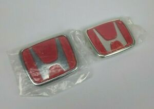 Red Honda Emblem Front Rear Set New Jdm Style Civic Accord Acura