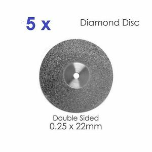 Double Sided Diamond Disc X 5 For Dental Lab 0 25 X 22mm 3 Dental Supplies