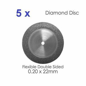 Double Sided Diamond Disc X 5 For Dental Lab 0 20 X 22mm 4 Dental Supplies