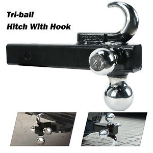 Tri ball With Hook Tow Trailer Ball Hitch Mount Fits 2 Inch Receiver Towing New