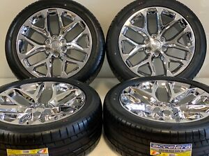 22 Oem Factory Chrome Cadillac Chevy Silverado Gmc Sierra Wheels Rims Tires Ck1