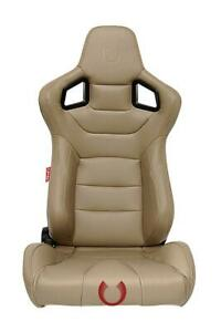 Cipher Auto Beige Tan Leatherette W Poly Carbon Trim Premium Racing Seats Pair
