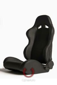 Cipher Auto Black Leatherette Universal Euro Racing Seats New Pair W Sliders