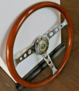 Steering Wheel Lotus Vintage Wood Chrome Polyshed Classic Elan Elite Europa