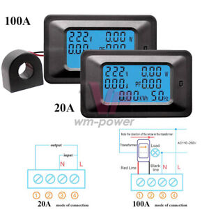 20a 100a 6in1 Lcd Panel Ac Power Meter Voltmeter Ammeter W Current Transformer