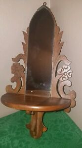 Lovely Vintage Scroll Products Art Deco Wood Framed Mirrored Ornate Wall Shelf