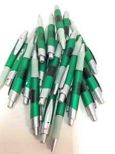 20 Lot Retractable Misprint Ink Pens Thick Green Barrels With Rubber Grip