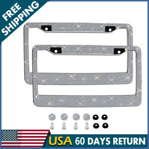 2pcs Auto Car Metal License Plate Frame Holder Bling Crystal Rhinestone Diamond