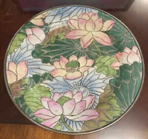 Antique Chinese Porcelain Pink Blue Green Lotus Flower Plate