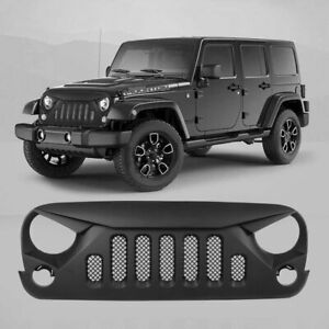 Front Mesh Grille Cars Angry Skull Replacement For Jeep For Wrangler Jk 07 18