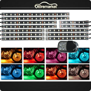 12pcs Motorcycle Rgb 120led Neon Under Glow Lights Strip Kit For Harley Remote