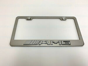 1pc 3d Amgemblem Stainless Steel Chrome Metal License Plate Frame W Screw Caps