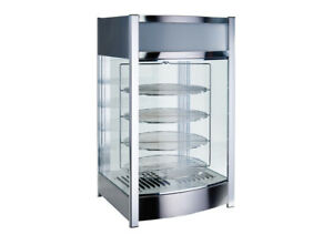 New 18 Electric Heated Pizza Warmer Pretzel Glass Display Case Winco Edm 2 9969
