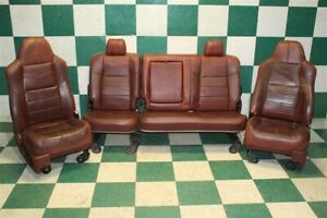 08 10 F250 King Ranch Leather Power Heated Front Buckets Rear Bench Seat Set Oem