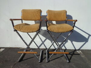 Set Of 2 Bar Stools Chrome Wood Milo Baughman Mid Century Modern Seating Dining