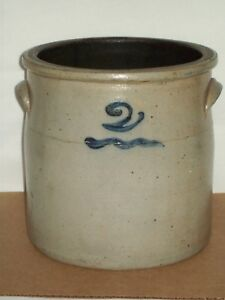 Antique 2 Bee Sting Stoneware Crock Vintage Blue Wave Red Wing Crock