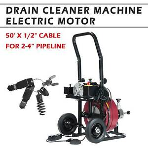 50ft 1 2 Electric Drain Cleaning Machine Sewer Snake Drill Drain Auger Cleaner