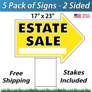 5 Signs Estate Sale Arrow Shaped Signs Stakes Corrugated Plastic Yellow