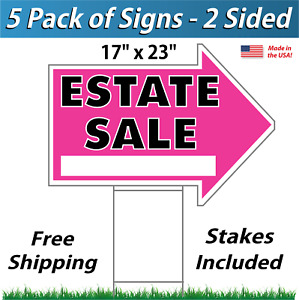 5 Signs Estate Sale Arrow Shaped Signs Stakes Corrugated Plastic Pink