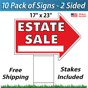 10 Signs Estate Sale Arrow Shaped Signs Stakes Corrugated Plastic Red