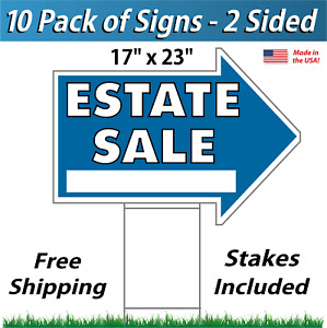 10 Signs Estate Sale Arrow Shaped Signs Stakes Corrugated Plastic Blue