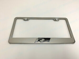 1pc 3d R Line Stainless Steel Chrome Metal License Plate Frame W Screw Caps
