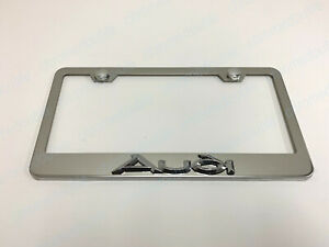 1pc 3d Audiemblem Stainless Steel Chrome Metal License Plate Frame W Screw Caps