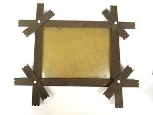 Antique Wood Frame Tramp Art Porcelain Buttons Carved Wood Picture Photograph