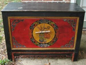 Antique Asian Tibetan Cabinet 31 Inches H X 41 Inches W X 18 5 Inches D