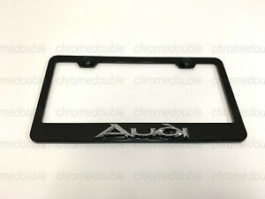 1pc 3d Audiemblem Black Stainless Steel License Plate Frame W Screw Caps