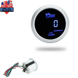 2 52mm Digital Oil Temp Temperature Gauge Meter With Sensor Warning Light U6m4