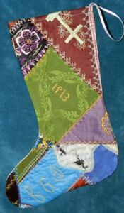 Awesome Antique Vintage Crazy Quilt Christmas Stocking Cutter Quilt 1913 Cq49