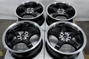 16x7 5x100 5x114 3 Black Wheels Fits Corolla Tiburon Civic Accord Rsx 5 Lug Rims