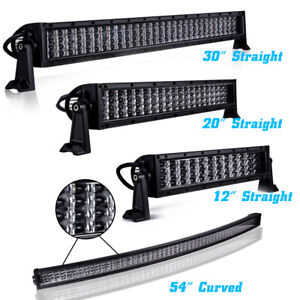 10d Led Work Light Bar Combo Driving Offroad 54 Curved 12 20 30 40 Straight