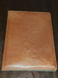 Authentic Smooth Quill Tan Ostrich 9 X 12 Portfolio Binder Notebook