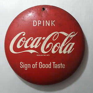 Antique Coca Cola Button Sign 8