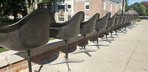 Set Of 16 Charles Ray Eames For Herman Miller Swivel Padded Shell Armchairs