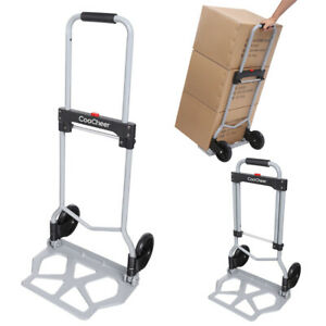 Cart Folding Dolly 220lbs Collapsible Trolley Push Hand Truck Moving Warehouse