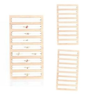 3 Pcs Bamboo Wooden Jewelry Display Plate For Rings Earrings Storage White