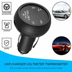 3 In 1 Digital Led Usb Car Charger Voltmeter Thermometer Car Battery Monitor Nd